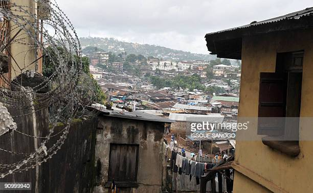 A township in Freetown is pictured on September 20 2009 where Amnesty International SecretaryGeneral Irene Khan is campaigning to fight infant...