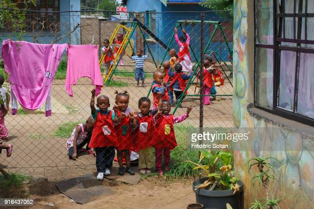 Township of Kliptown in Soweto. The Non-Governmental Organization Sky takes care of the orphans of Kliptown, a suburb of the formerly black township...