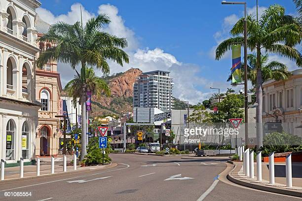 Townsville central business district and Castle Hill in the background, north-eastern coast of Queensland, Australia.