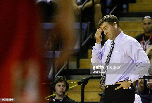 Townsville coach Trevor Gleeson reacts after an umpires decision during the round 17 NBL match between the Wollongong Hawks and the Townsville...