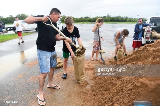 Townsville residents fill sandbags in preparation for more flooding on February 01 2019 in Townsville Australia Queensland Premier Annastacia...