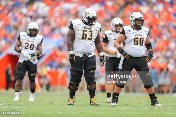 Towson players including Demarcus Gilmore and Brendan Cassels look on during a game against the Florida Gators at Ben Hill Griffin Stadium on...