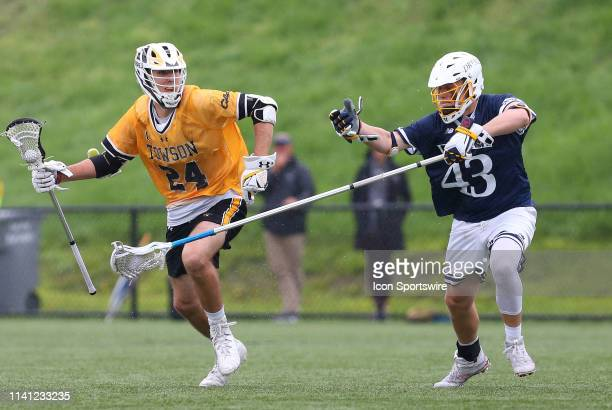 Towson Tigers Brendan Sunday and Drexel Dragons Sean Quinn during the CAA Championship game between Drexel Dragons and Towson Tigers on May 4 at...