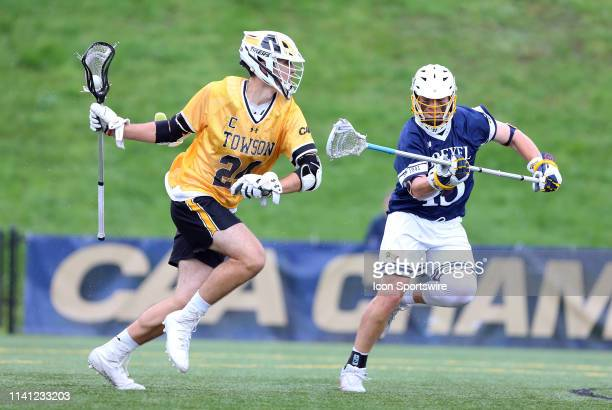 Towson Tigers Brendan Sunday defended by Drexel Dragons Sean Quinn during the CAA Championship game between Drexel Dragons and Towson Tigers on May 4...