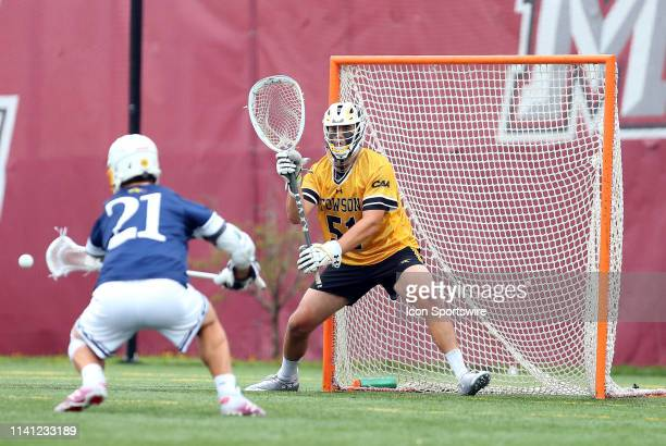 Towson Tigers Tyler Canto in action during the CAA Championship game between Drexel Dragons and Towson Tigers on May 4 at Garber Field in Amherst MA