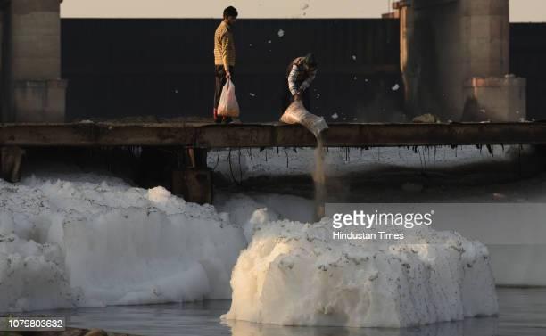 Toxic industrial-waste foam seen in the Yamuna River, at Kalindi Kunj, on January 9, 2019 in Noida, India.