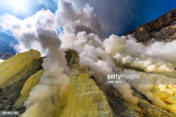 Toxic vappors of sulfur mining, Mount Ijen crater lake, East Java, Indonesia