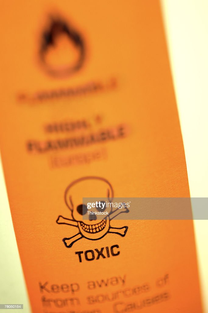 Toxic warning label : Stock Photo
