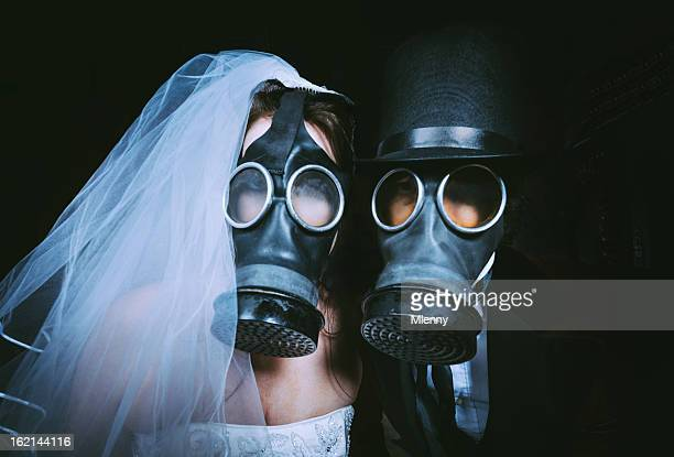 toxic wedding - gas mask stock pictures, royalty-free photos & images