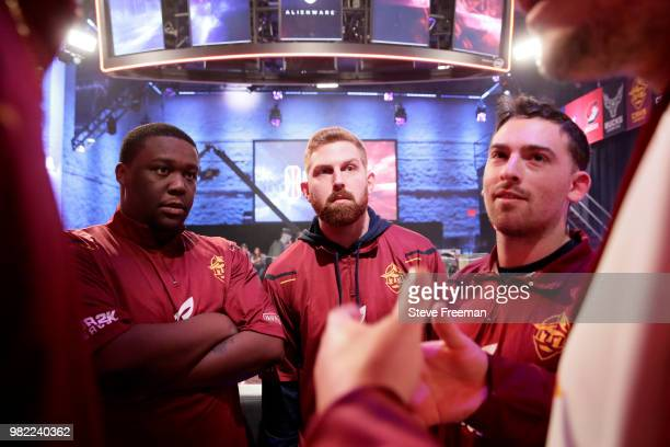 ToXsiK of Cavs Legion Gaming Club works with his team during the match against Heat Check Gaming on June 23 2018 at the NBA 2K League Studio Powered...