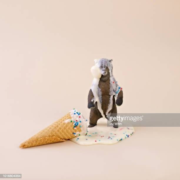 Toy Bear with Melted Ice Cream Cone