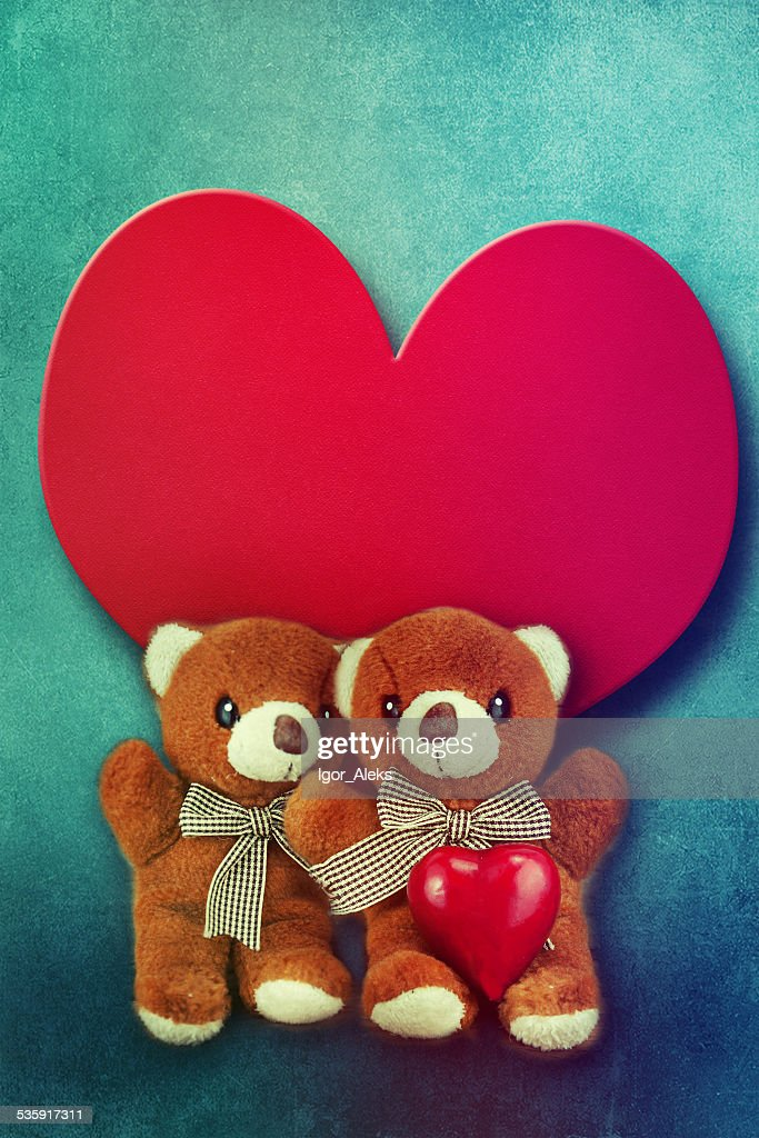 Toy bears. Valentines day. : Stock Photo