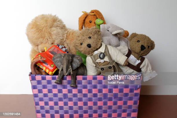toy box with teddy bears and toys - giving tuesday stock pictures, royalty-free photos & images