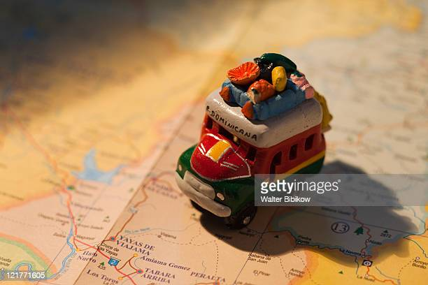 Toy bus on Dominican map, Bavaro, Punta Cana Region, Dominican Republic