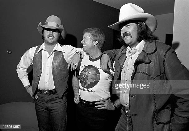 Toy Caldwell Jimmy Carter and George McCorkle during Capricorn Records Hosts Benefit Concert for Jimmy Carter October 31 1975 at Stouffer's Hotel in...