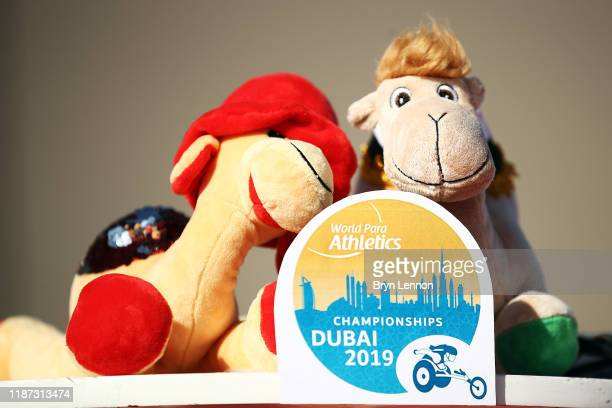 Toy camels look on during Day Seven of the IPC World Para Athletics Championships 2019 Dubai on November 13 2019 in Dubai United Arab Emirates