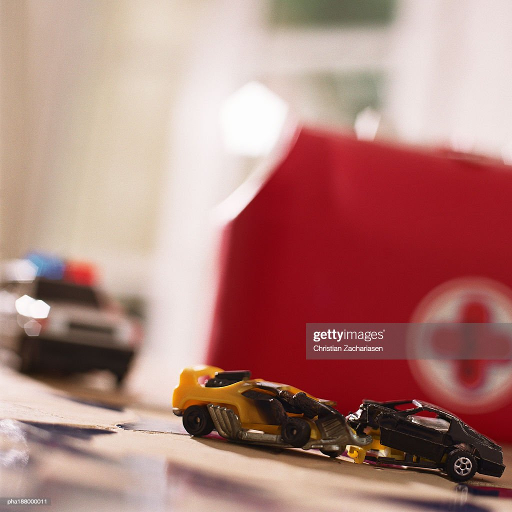Toy car accident. : Stockfoto