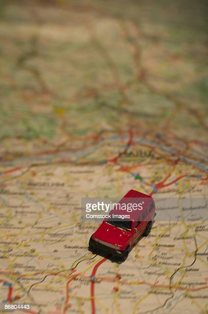 Toy car and road map