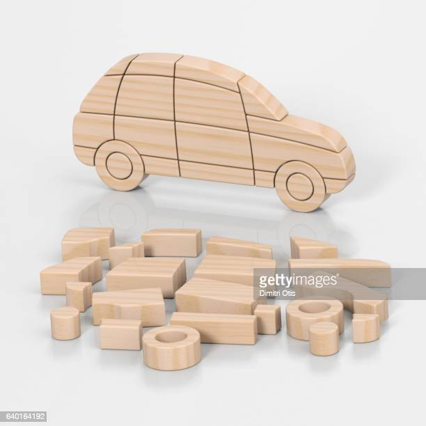 Toy car jigsaw puzzle, complete and in pieces