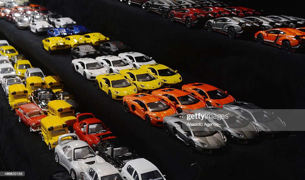 Toy cars are seen during the 2014 New York International Auto Show at the Jacob Javits Center New York, United States on April 25, 2014.