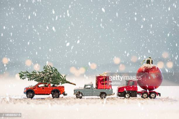 toy cars with  christmas gifts - christmas stock pictures, royalty-free photos & images