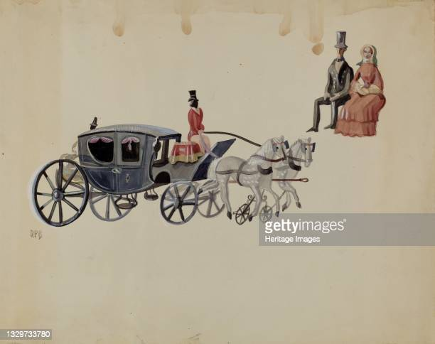 Toy Coach and Two Horses, circa 1936. Artist Raoul Du Bois.