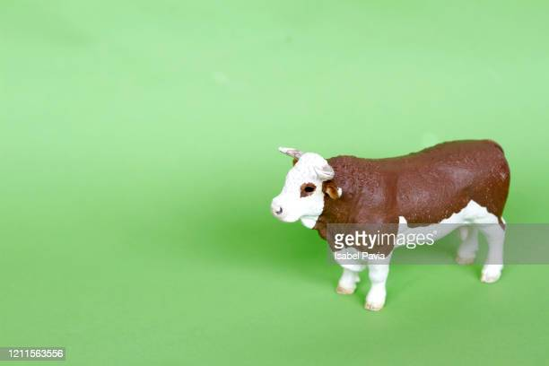 toy cow on green - animal representation stock pictures, royalty-free photos & images