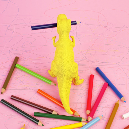 Toy Dinosaur with Colored Pencils and Scibbles - gettyimageskorea