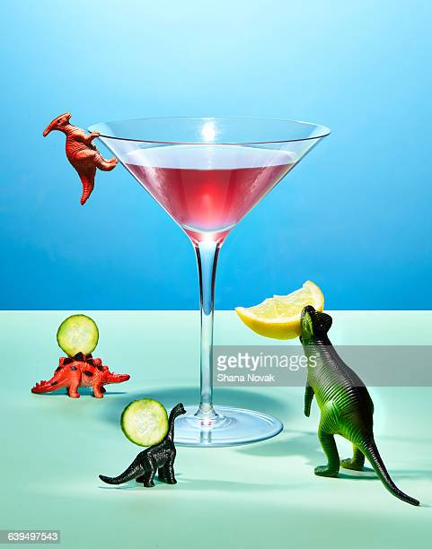 Toy Dinosaurs Preparing a Cocktail