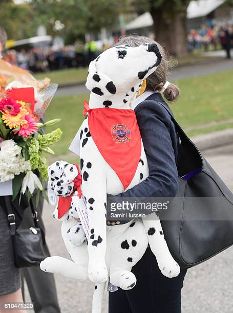Toy dogs given as a gift to Princess Charlotte and Prince George are seen at the Canadian Coast Guard and Vancouver First Responders event at...