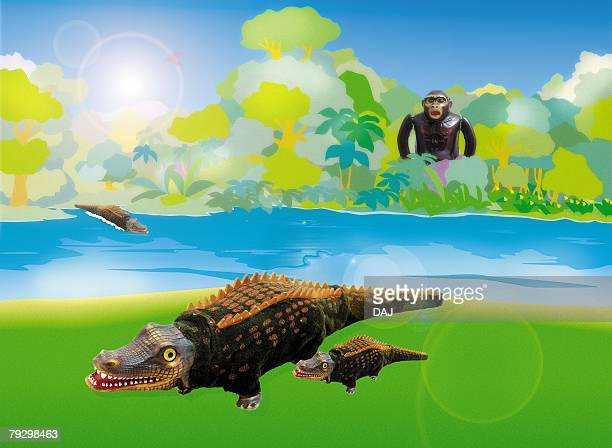 Toy Doll, Crocodile and Gorilla, Side View, Front View