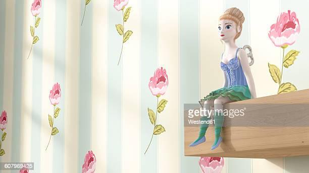 Toy doll sitting on shelf, 3D Rendering
