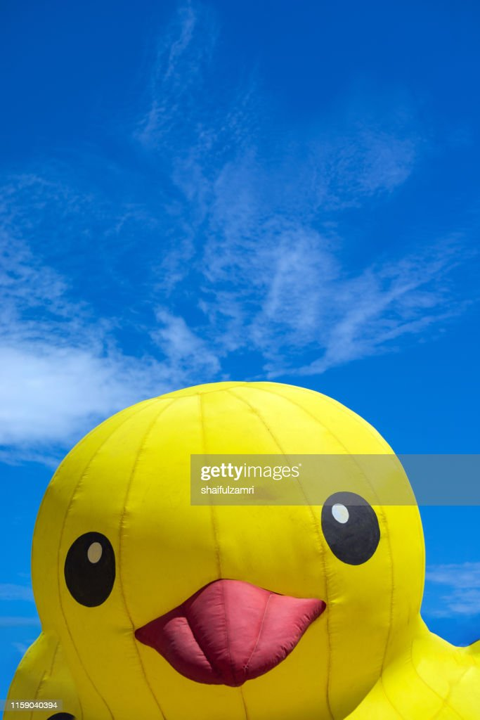 Toy duck emerging from egg over blue sky : Stock Photo