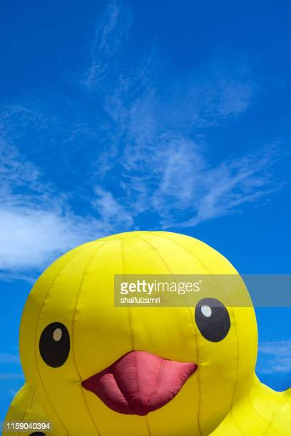 toy duck emerging from egg over blue sky - shaifulzamri stock pictures, royalty-free photos & images
