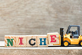 Toy forklift hold letter block E in word niche on wood background