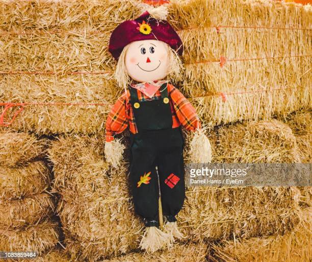 toy hanging on hay bale at farm - scarecrow agricultural equipment stock photos and pictures