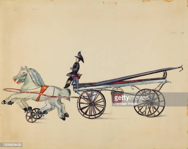 Toy Hook and Ladder, with Two Horses, circa 1936. Artist Mina Lowry. .
