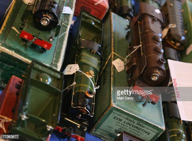 Toy Hornby trains are displayed prior to the public view at the Chilcott School Saleroom Tiverton on October 17 2007 in Devon England The toys are...