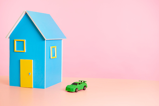 toy house with green house with pink background - gettyimageskorea