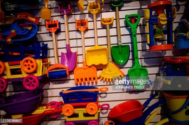 Toy of the company American Plastic Toys Inc are on display during the annual New York Toy Fair, at the Jacob K. Javits Convention Center on February...