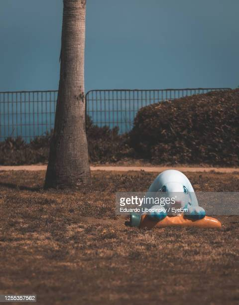 toy on field against clear sky - netanya stock pictures, royalty-free photos & images