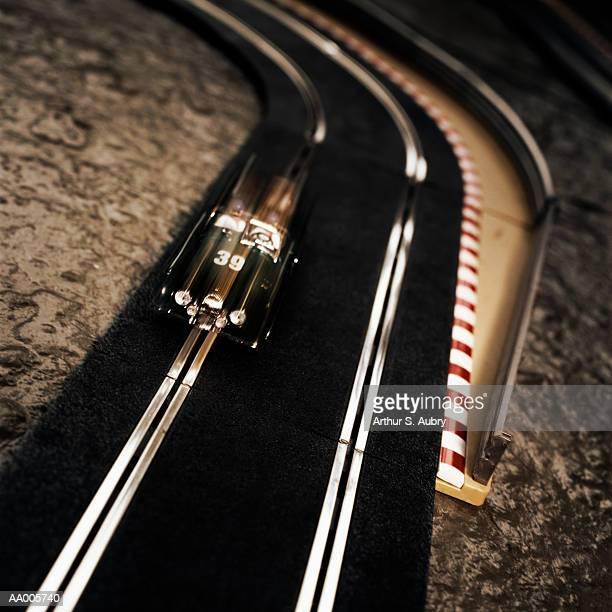 Toy Race Car on a Race Track
