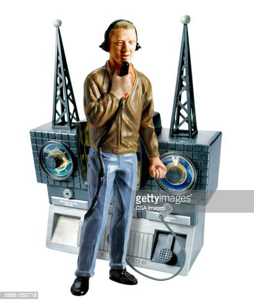 toy radio broadcaster - human representation stock pictures, royalty-free photos & images