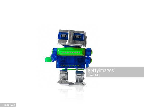 Toy robot on white background