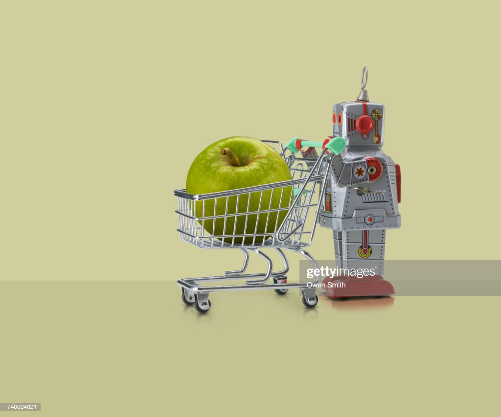 Toy Robot Pushing Miniature Shopping Trolley With Granny