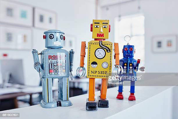 Toy robots in office