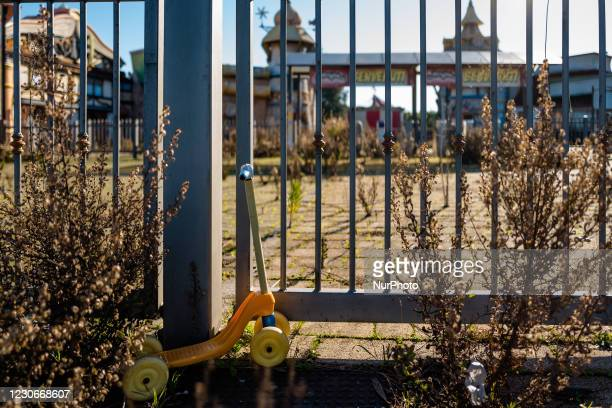 Toy scooter left in front of the Miragica amusement park in a state of abandonment after the bankruptcy, in Molfetta, Italy on 19 January 2021....