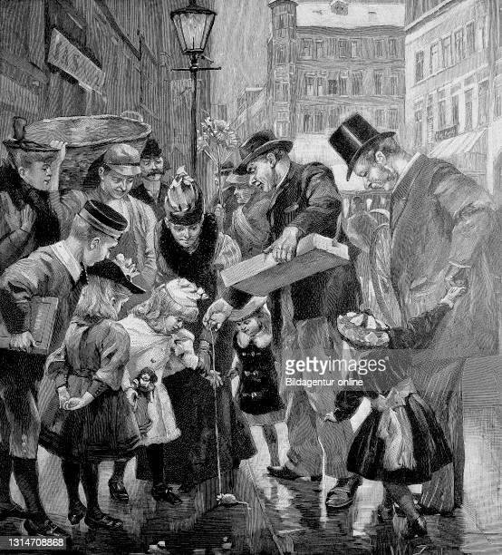 Toy seller in the street life of Berlin, Germany, in 1892 / Spielzeugverkäufer im Straßenleben von Berlin, Deutschland, im Jahre 1892, Historisch,...