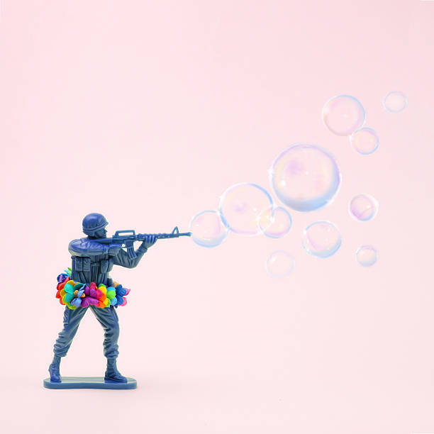 Toy soldier shooting bubbles from gun