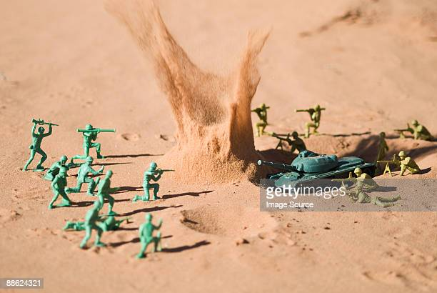 Toy soldiers fighting